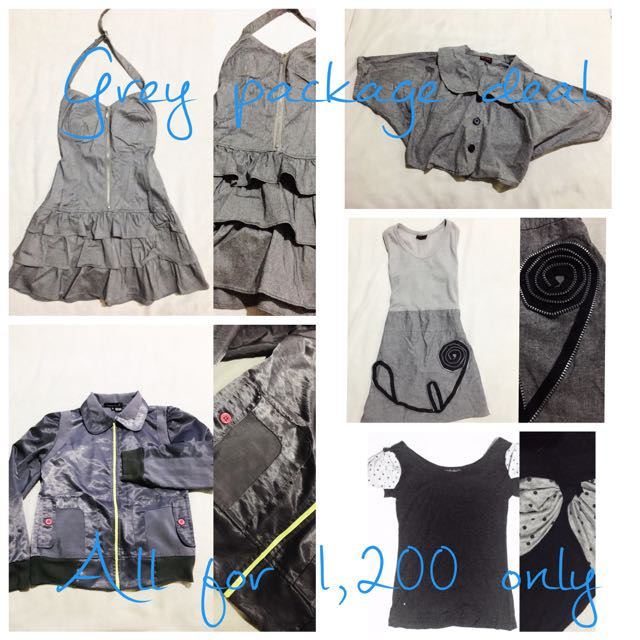 Grey Gray Dress, Jacket, Bolero, Top