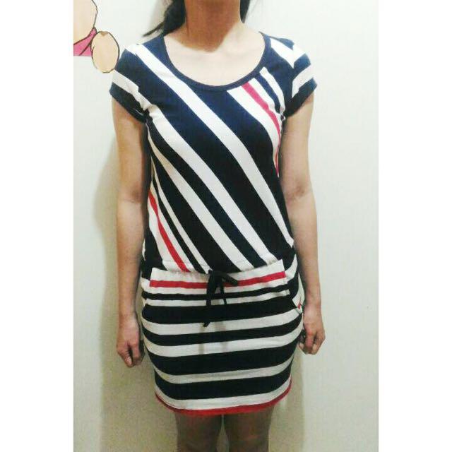 H&M Blue-Red Stripe Dress