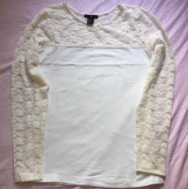 H&M Lace Shoulder White Top