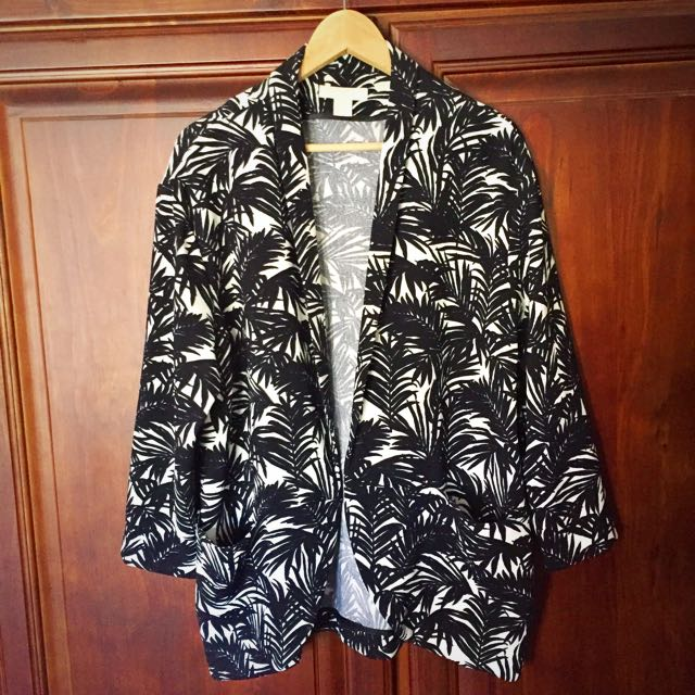 H&M Palm Tree Print Ladies Blazer Size M