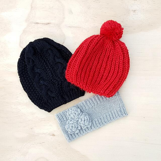 Knitted Beanies And Headband