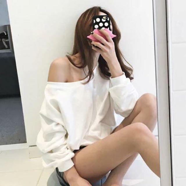 降價!la parisienne boutique 寬鬆版繫帶純白棉T