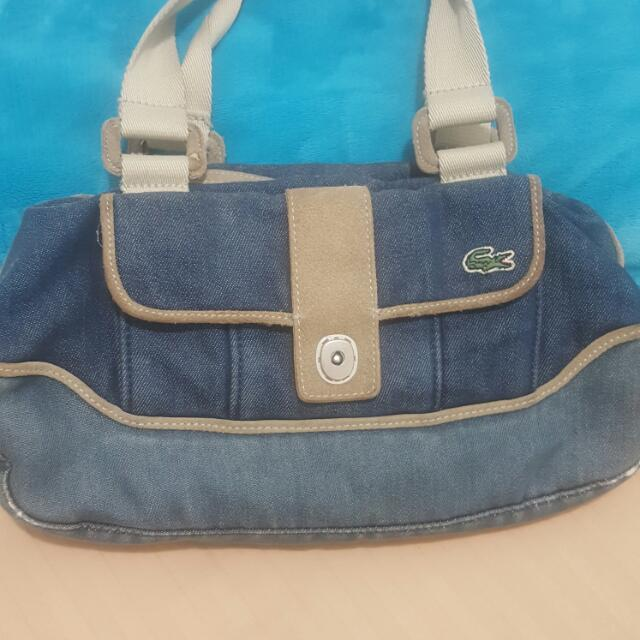 Repriced!LACOSTE DENIM HANDBAG