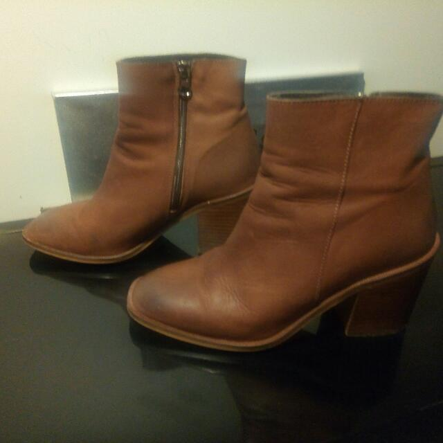 Distressed Leather Agenda Booties Size 38  Wore these for a few hours and that was it. Made for a size 7 or 7 1/2 foot. European size. 100 % leather from Brazil. Bought at Capezio, retail price $225.00