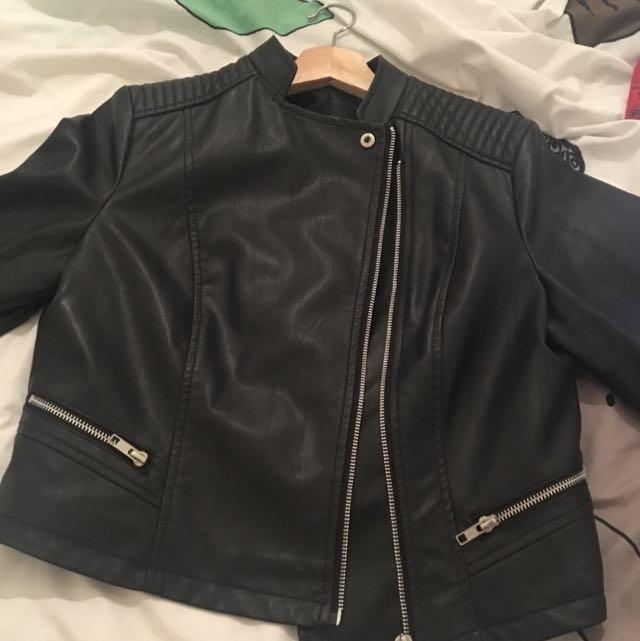 leather (fake) portmans biker jacket !!