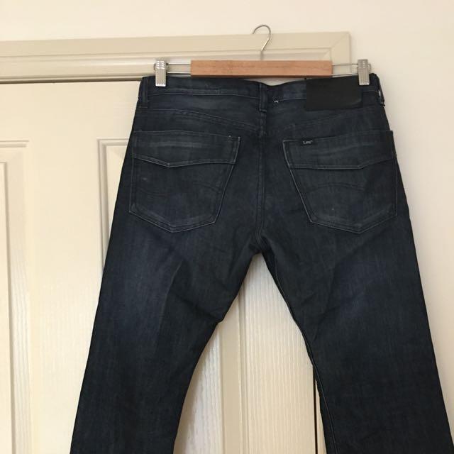 LEE Denim Straight Leg Jeans, Men's Size 32 Waist, Dark Blue. PRCE REDUCED