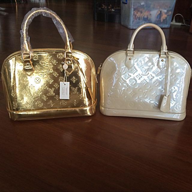 Louis Vuitton Gold Alma Bag Vernis