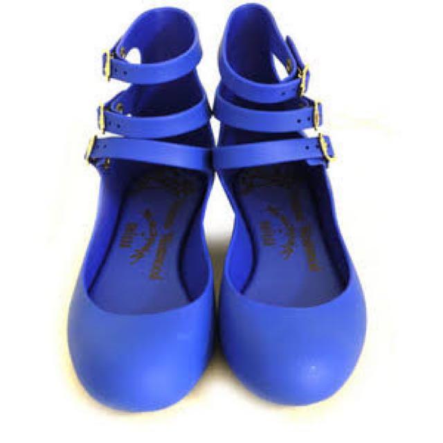 Melissa VW Three Straps Flats Blue