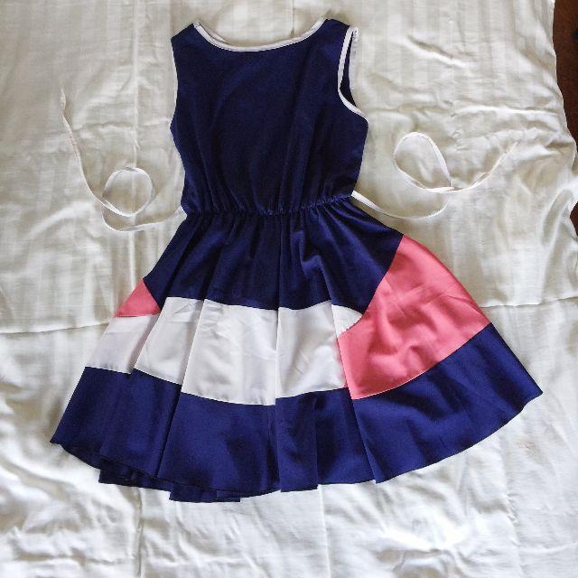 Navy Blue Color-blocked dress