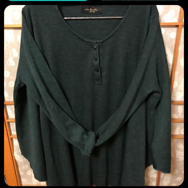 NET 寬版墨綠色針織上衣