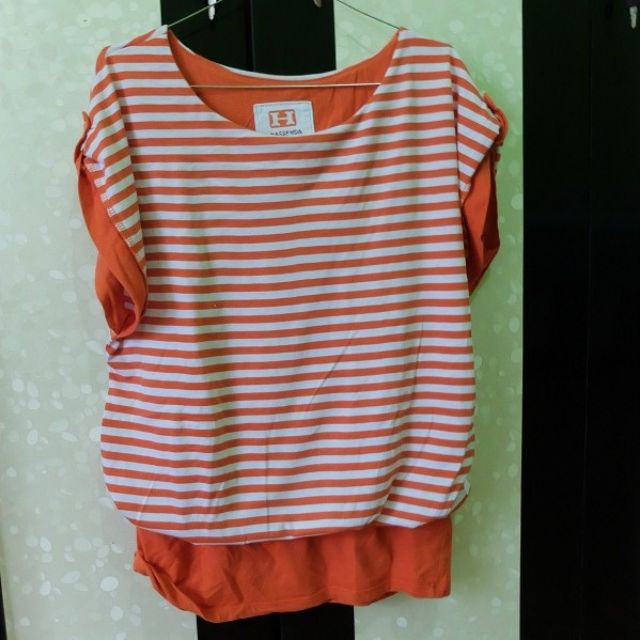 Orange Stripes Cotton Top Fit to L
