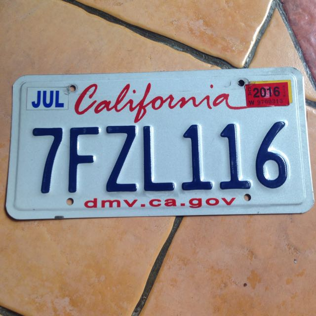 Plat Nomer USA Original (California)