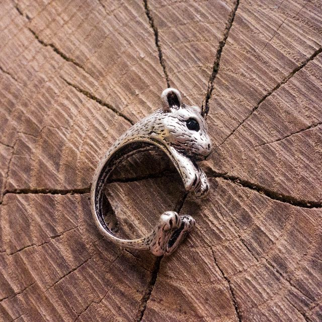 Silver Hamster Adjustable Animal Wrap Ring