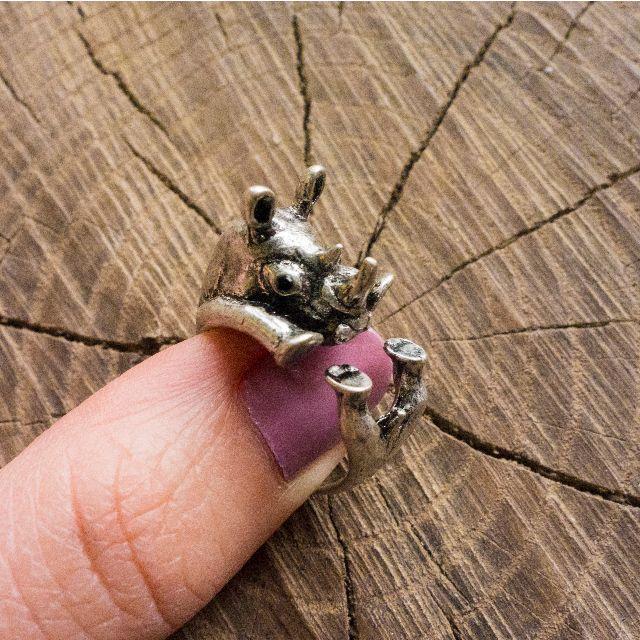 Silver Rhinoceros Adjustable Wrap Animal Ring