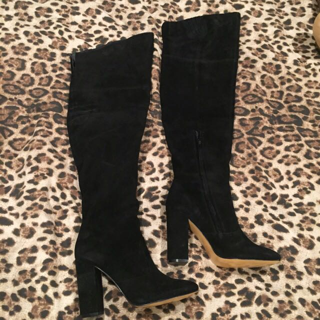 Siren Black Suede Thigh High boots.