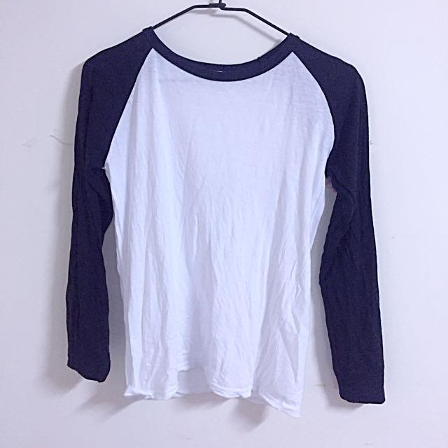 黑白棉質薄長袖T