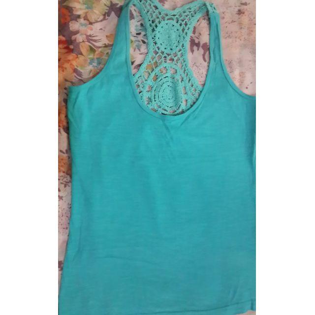 Terranova Sleeveless Green Top (w/ crochet back detail)