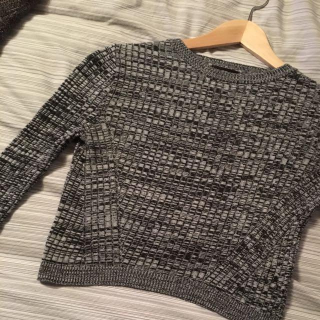 Top Shop Grey Crop Sweater Size 4