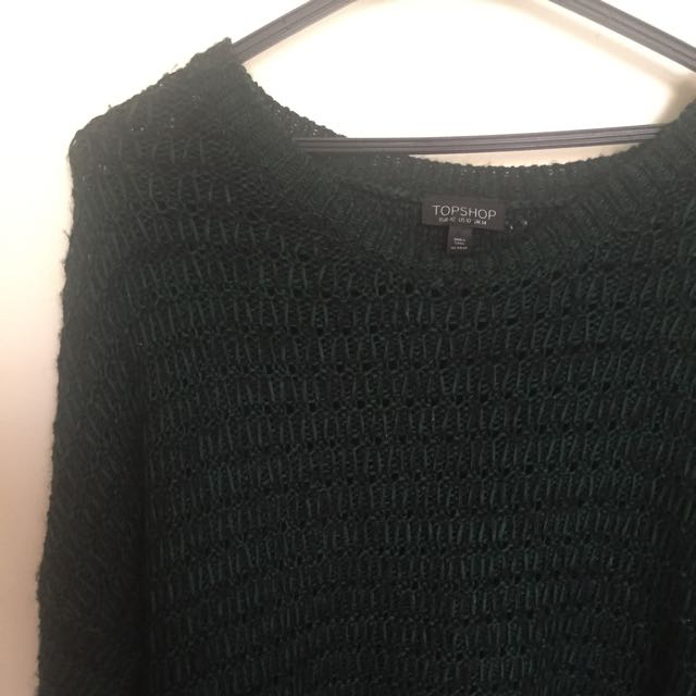 TOPSHOP Green And Black Chunky Knit Jumper