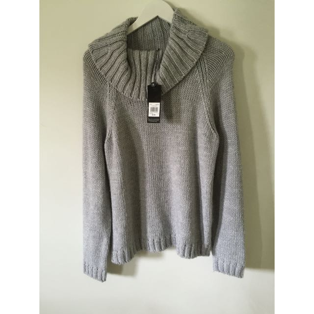 TRENT NATHAN GREY LOOSE KNIT ROLL NECK BNWT