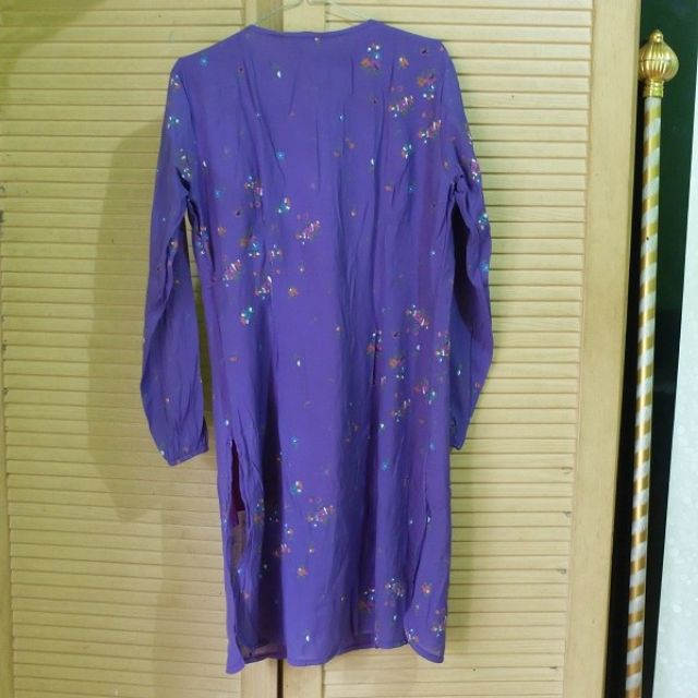 Vintage Floral Purple Midi Cotton Tunik Dress