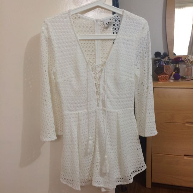 White Playsuit With Bellsleeves