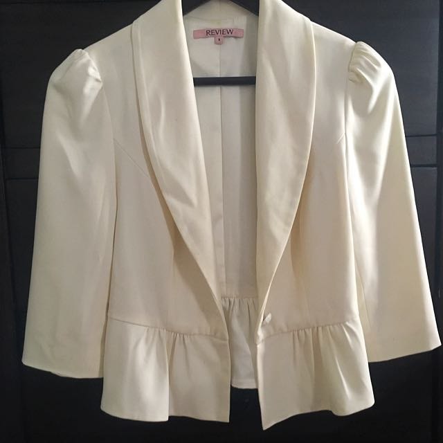 White Review 3/4 Sleeve Jacket
