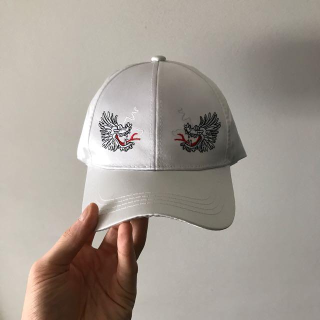 WHITE SATIN DRAGON CAP