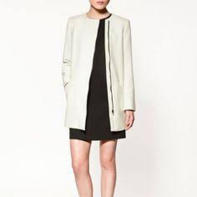 ZARA BASIC White Jacket/coat Size M