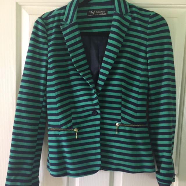 Zara Navy & Green Striped Blazer Size M