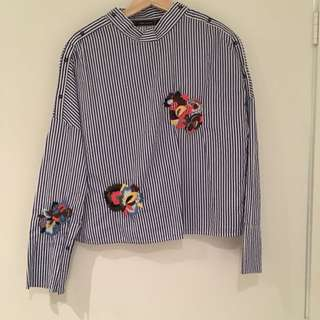 Embroidered Flower Top From Zara