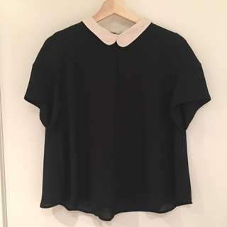 White And Black Contrast Collared Top From Zara