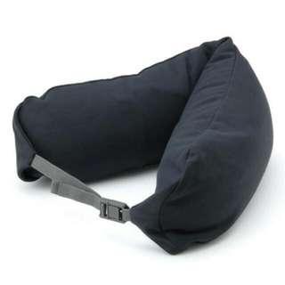 無印良品 微粒貼身靠枕/附帽/深藍/連帽