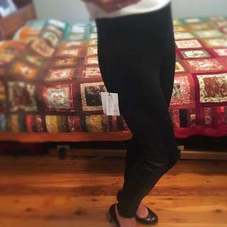 NEW Ponte Pants With PU Trimming