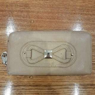 Kate Hill Light Brown/Tan Wallet Used But Good Condition Leather With Gold Trim