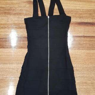 Black Bodycon Dress With Zip Front Party Dress Size S
