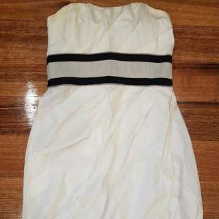 Kuku Dress Size 10 Formal Dress Strapless White Pleated Detail Gorgeous Black And Grey Band