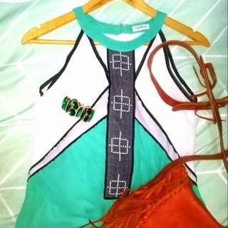 Foded&Hung Seafoam Green Tribal Long Dress