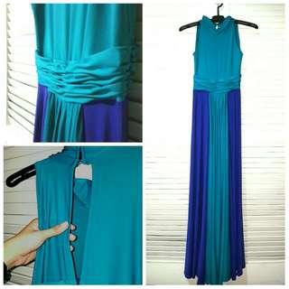 Tiffany Blue On  Royal Blue Formal Dress