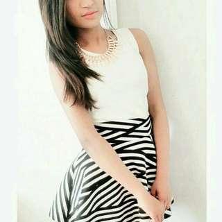 Black & White Stripe Party Skirt