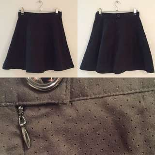 Black Suede Skater Skirt