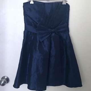 Navy Blue Size 8 Evening Babydoll Strapless Dress