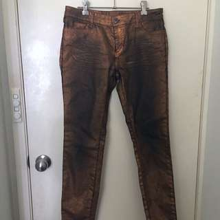 Witchery Size 10 Copper/black Metallic Jeans
