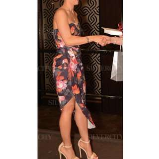 Flowered strapless formal dress