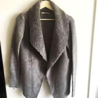 Oasis Ladies Faux Sheep Fur Woollen knit Cardigan 🐑