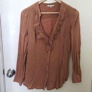 Size 8/S Boho Blouse Tan Shirt Brown Top