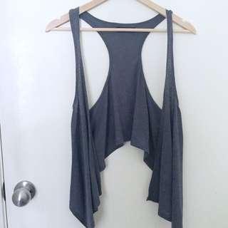 Size XS/6 Grey Loose Vest/ Waistcoat Drape Top Over Top Boho Style