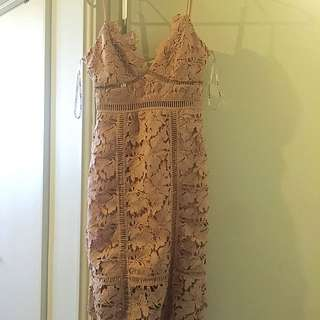 Nude Lace Dress from Bardot