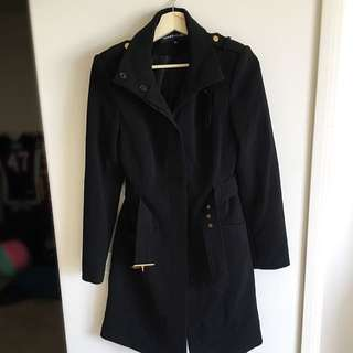 Ladies Long Black Trench Coat