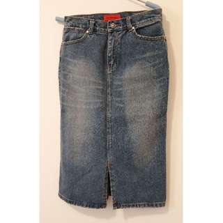 EUC - Pencil Denim Skirt with front slit
